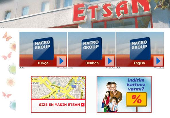 Integration auf der Homepage von Etsan