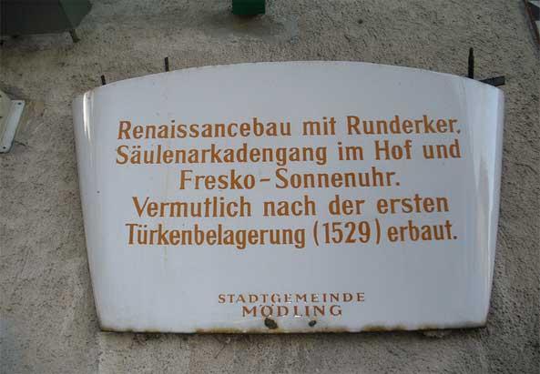 Türkenbelagerung, Schild in Mödling - ©privat