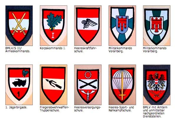 Teil der Verbandsabzeichen des Österreichischen Bundesheeres - @bundesheer.at