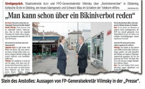 """Stein des Anstoßes: Aussagen von FP-Generalsekretär Vilimsky in der """"Presse"""" - © Die Presse"""