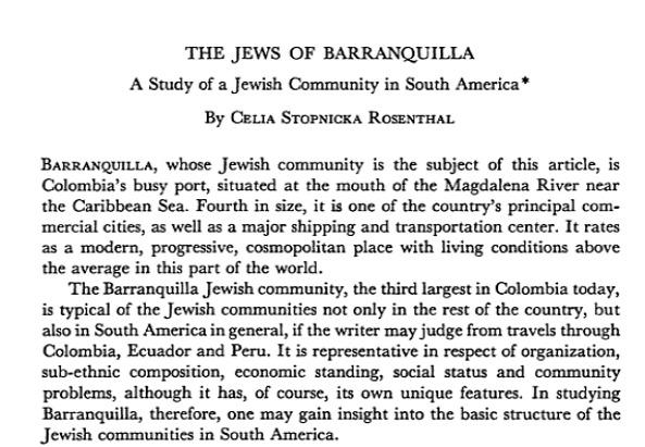 Excerpt of a research on the Jewish Community in Barranquilla