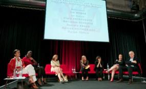 Wiener Zeitung Symposium - V.l.n.r: Mercedes Echerer, Clara Akinyosoye, Bettina Roither-Epp, Ina Weber, Özlem Topçu, Daniela Kraus, Horst Pöttker -  Photo: Robert Newald