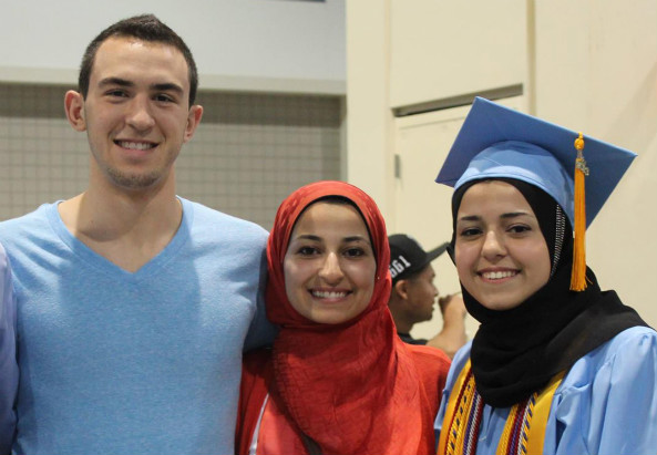 (from left) Deah Shaddy Barakat, 23; his wife, Yusor Mohammad, 21; and her sister, Razan Mohammad Abu-Salha, 19.