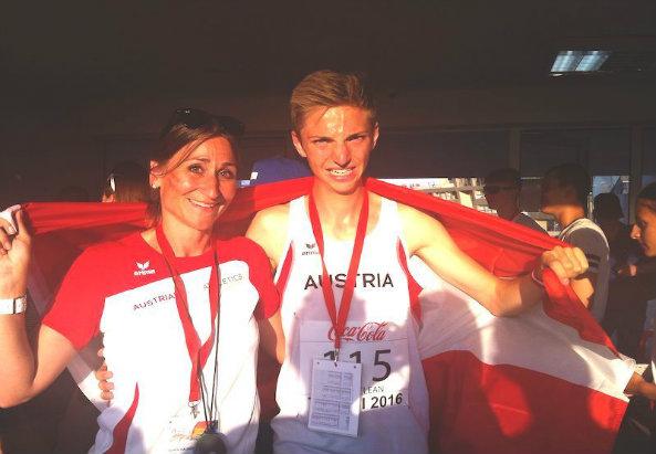 Stefan Schmid mit Trainerin Karin Haußecker