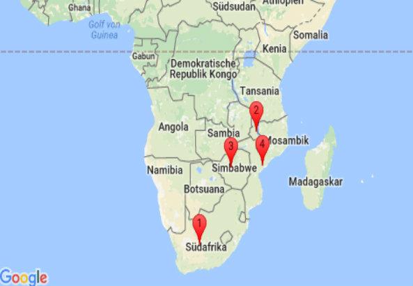 Südliches Afrika: Südafrika, Malawi, Simbabwe, Mozambique