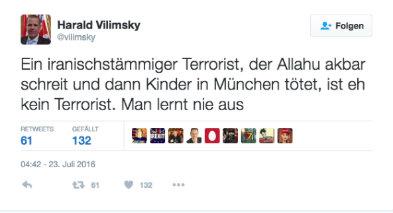 Harald Vilimsky über den Amoklauf auf Twitter.